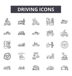 driving line icons signs set outline vector image