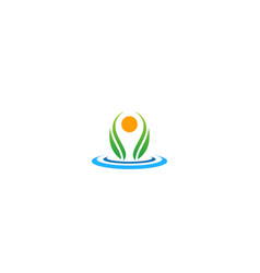 ecology green leaf water logo vector image