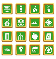 Ecology icons set green vector