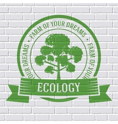 Ecology tree colored logo or template on a white vector