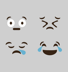 emoticon cartoon face icon vector image