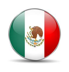 flag mexico mexican round glass button vector image