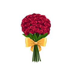Flower bouquet isolated roses in bunch vector