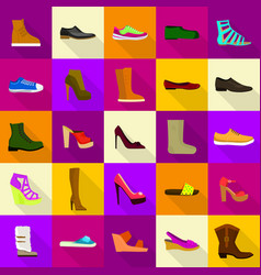 Footwear shoes icons set flat style vector