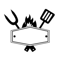 fork and spatula utensils board flame vector image