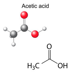 Formula and model of acetic acid molecule vector
