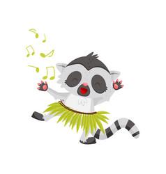 funny lemur dancing in green hula skirt joyful vector image