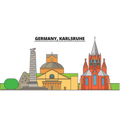 germany karlsruhe city skyline architecture vector image