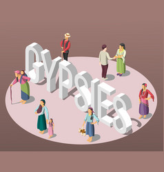 Gypsies isometric background vector