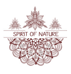 hand drawn boho style design with mandala arrow vector image