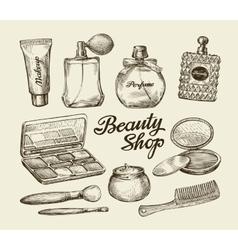 Hand drawn vintage womens cosmetics Sketch vector