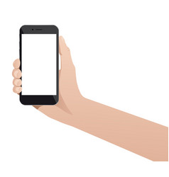 hand with phone isolated on white background vector image