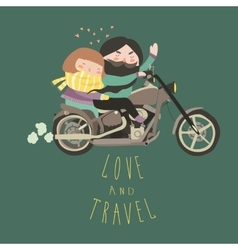 Happy couple in love riding a motorcycle vector