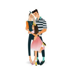 happy family with hugging of vector image