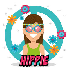 Happy hippie woman cartoon vector