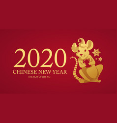 Happy new 2020 year papercut rat character red vector