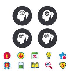 Head with brain icon female woman symbols vector