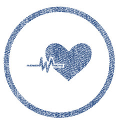 Heart pulse rounded fabric textured icon vector