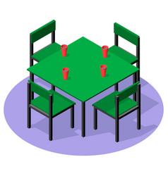 isometric interior furniture - dinner table with vector image