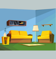 Living room interior in cartoon style vector
