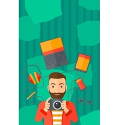 Man holding camera vector image
