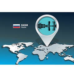 Map pin with Kazan skyline vector