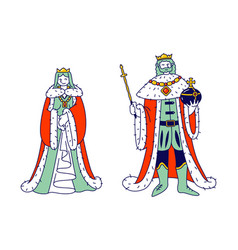 medieval royal family members king and queen in vector image