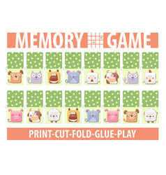 memory card game with cartoon animals different vector image