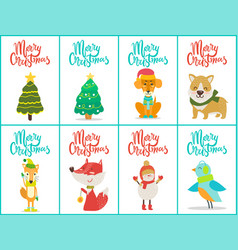 merry christmas posters set on vector image