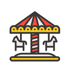 Merry go round icon filled outline style editable vector