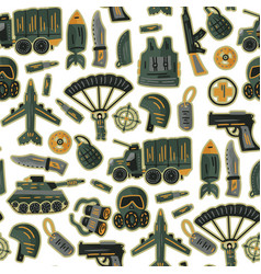 Military and army seamless pattern vector