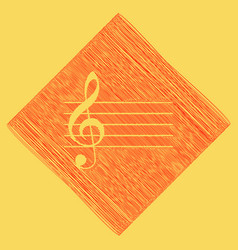 Music violin clef sign g-clef red vector