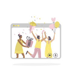 online birthday party and meeting friends vector image