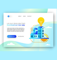 Online business landing page template for app idea vector