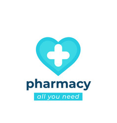 Pharmacy drugstore logo with heart vector