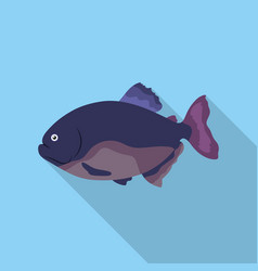 Piranha fish icon flat singe aquarium fish icon vector