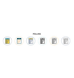 Polling icon in filled thin line outline and vector