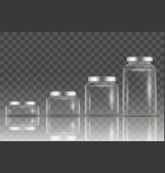 realistic empty glass jar mockup set vector image