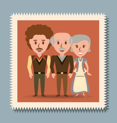 retro family grandparents with their son vector image