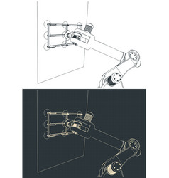 Robotic arm with vacuum gripper drawings vector