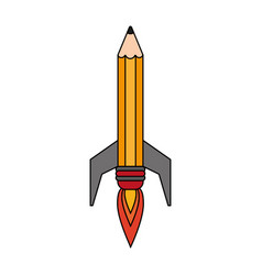 rocket pencil symbol vector image