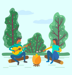 Romantic weekend couple fire and guitar songs vector