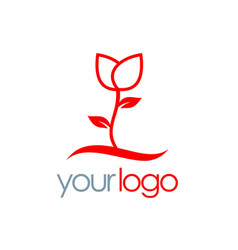 rose plant flower logo vector image