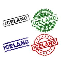 Scratched textured iceland stamp seals vector