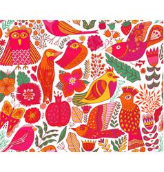 seamless birds background textile composition vector image