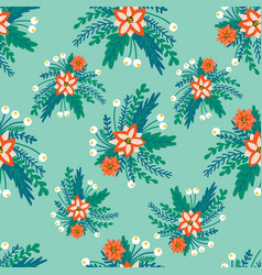 Seamless pattern red flower bouquets on a vector
