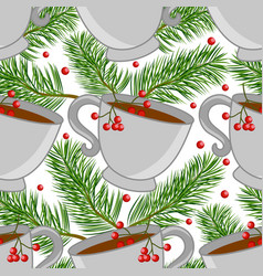 seamless pattern with cups tea and pine vector image