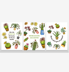 set cards cactus and cute template succulents vector image