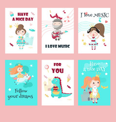set cards with medieval knight princess vector image