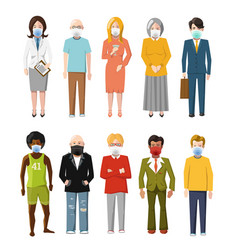 set ten detailed flat characters wear masks to vector image